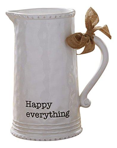 Mud Pie 4551001 Happy Ceramic Pitcher White