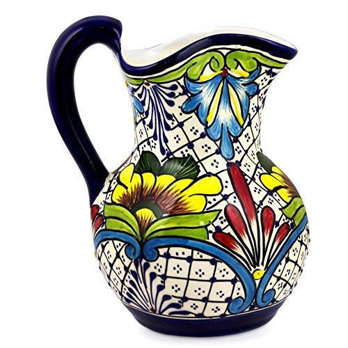 NOVICA Multicolor Floral Ceramic Pitcher 101 oz Comonfort Wildflowers