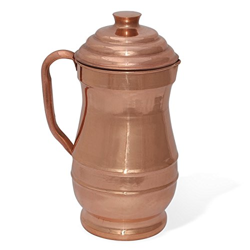 Prisha India Craft  Pure Copper Jug Water Pitcher with Lid Indian Copper Utensils Capacity 19 L