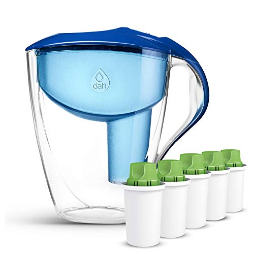 Dafi Alkaline UP pH Water Filters 5-Pack with Astra LED pH Water Filter Pitcher included Free - Alkaline Water System - Get Water with high pH and negative OR Potential BPA Free Blue