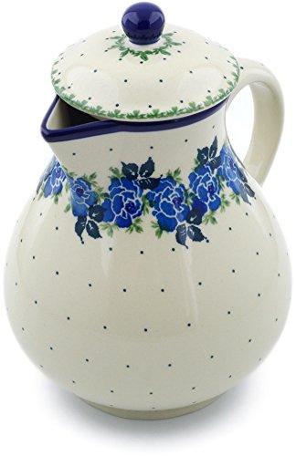 Polish Pottery 33 oz Pitcher made by Ceramika Artystyczna Blue Garland Theme  Certificate of Authenticity