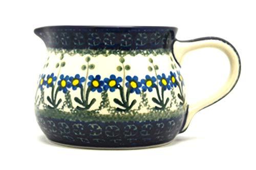 Polish Pottery Pitcher - 15 oz - Blue Spring Daisy