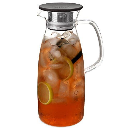 FORLIFE Mist Glass Ice Tea Jug 50-Ounce Black