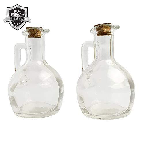 Oil Vinegar Glass Jugs - Set of two Cruets 8 oz Glass Oil Vinegar Pourers - Perfect for Vegetable Oil Olive Oil Black Vinegar Balsamic Vinegar and More - Cork Stoppers Included