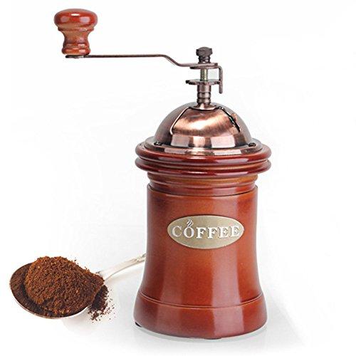 WAYERTY Ceramic Coffee Bean Grinder Manual Grinders Hand Coffee Machine Ultra Grind Portable Coffee Mill Grinder-Brown 95x95x20cm4x4x8inch