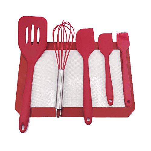 Vkey 6pcs  set Silicone Cooking Baking Tool SetsHeat-Resistant Silicone KitchenwareSilicone mat RED …