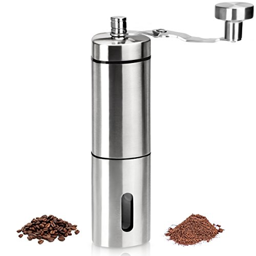 WENFENG Manual Coffee Grinder Adjustable Ceramic Conical Burr Grinders for Precision Brewing Stainless Steel Coffee Grinder for Home Traveling
