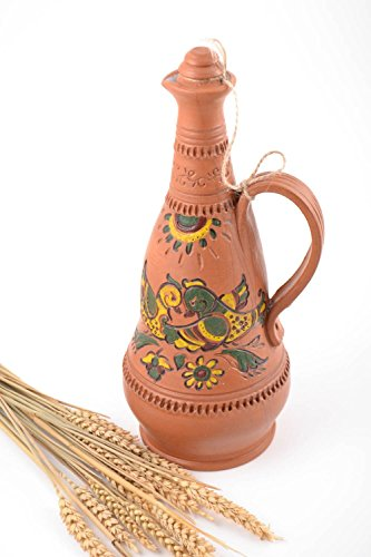 Handmade Tall Painted Brown Ceramic Pitcher For Water Or Wine For 19 L