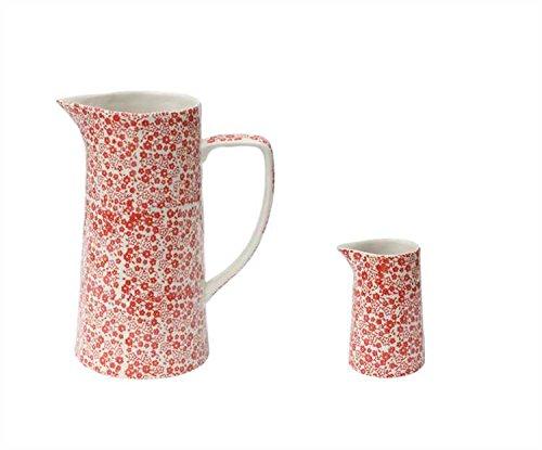 Red Chintz Hand-Stamped Stoneware Pitcher - Set Of 2