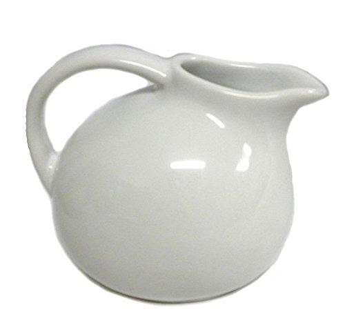 Small Round Stoneware Pitcher Creamer Retro Colors White