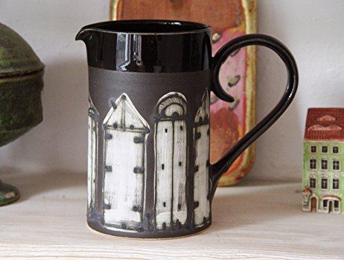 Wheel Thrown Black Stoneware Pitcher Ceramic Jug Iron Anniversary Gift Durable Stoneware Pottery Ceramic Art Functional Gift