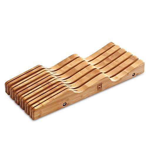 6 x 165 Brown In-Drawer Knife Block Kitchen Cutlery Organizer Holder Knives Drawer Storage Block Wave Design Bamboo Wood