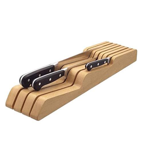 LLRYN Knives In-Drawer Knife BlockEmpty Wooden Knife Holder for Kitchen Drawers-Wood Storage Block