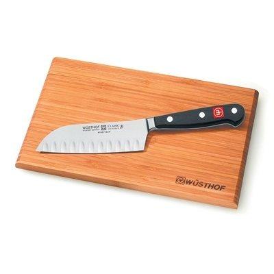 Wusthof Classic High Carbon Steel Hollow Edge 5 Inch Santoku Knife with Free Wusthof Bar Board