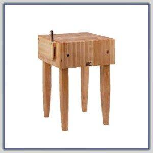 John Boos PCA Butcher Block - 10 Thick End-Grain Maple Block 30W x 24D Basil Green Legs