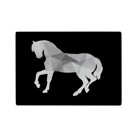 Horse Black White Small Glass Cutting Board - 1125 x 8