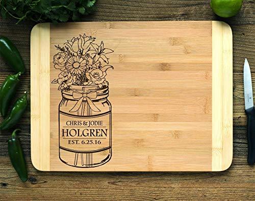 Personalized Cutting Board Engraved Bamboo Chopping Block HDS Mason Jar