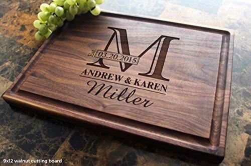 Monogram Personalized Engraved Cutting Board - Wedding Anniversary Housewarming Birthday Corporate Gift Award Promotion 003