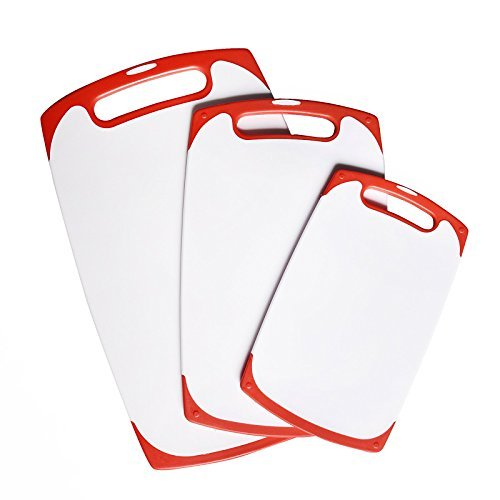 WELLAND Red Silicone Edged 3-Piece Nonslip Plastic Kitchen Cutting Board Set Chopping Borad with Non Skid Handle