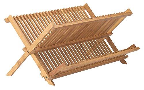 Cimostar Bamboo Folding Dish RackDish Drying Rack Drainer Storage Organizer