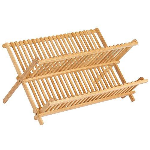 InterDesign Formbu Collapsible Bamboo Dish Drying Rack-Natural