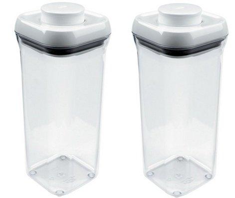 Oxo 1071398 15 Quart Pop Small Square Food Storage Container - Quantity 2 White 15 Quart Capacity