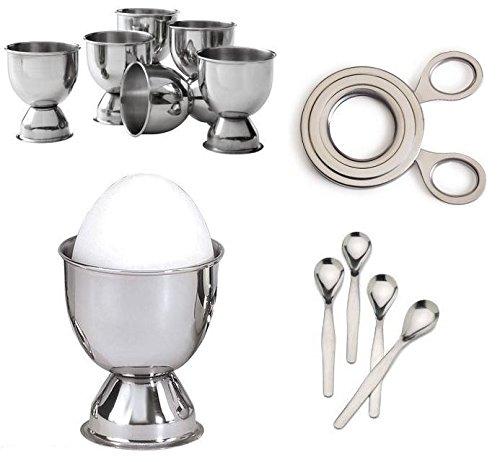 Stainless Steel Soft Boiled Egg Set - 6 Cups 4 Spoons Easy Egg Topper Cutter