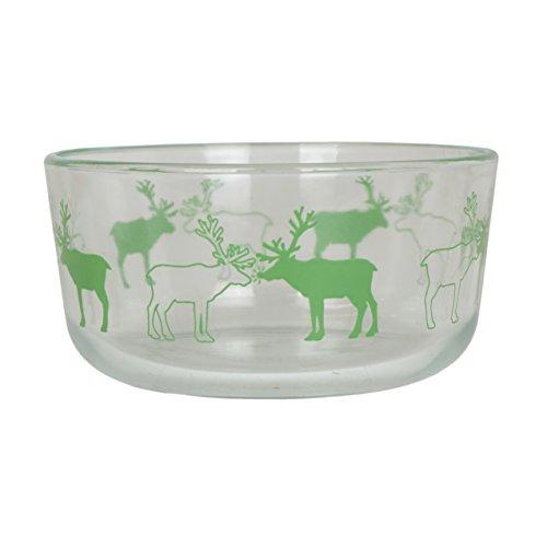 Pyrex 7201 4 Cup Festive Green Reindeer Clear Glass Bowl