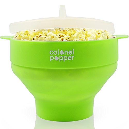 Colonel Popper Microwave Popcorn Popper Maker Silicone Hot Air Pop Corn Bowl Green