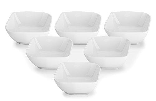 DOWAN 8oz Porcelain RamekinsDessert Bowls- Set of 6 White Stylish Square