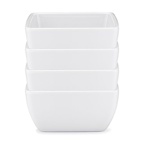 Q Squared Diamond White BPA-Free Melamine Dip Bowl 3-12 Inches Set of 4 White