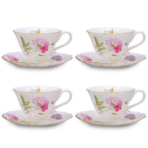 Gracie China Dahlia Porcelain 7-Ounce Tea Cup and Saucer Set of 4