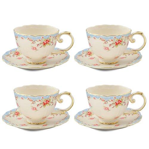Gracie China Vintage Blue Rose Porcelain 7-Ounce Tea Cup and Saucer Set of 4