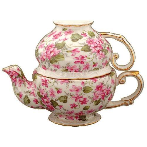 Gracie China by Coastline Imports Porcelain 3-Piece Tea Set for One PinkViolet