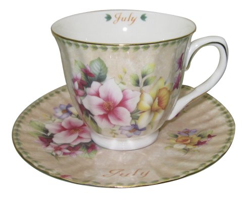 Gracie China by Coastline Imports Tea Cup and Saucer with Gold Trim Gift Boxed Month of July 8-Ounce