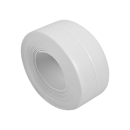 Delaman Wall Sealing Strip Self Adhesive Sticker Bath Sink Basin Edge Trim Tape Kitchen White 38mm32M