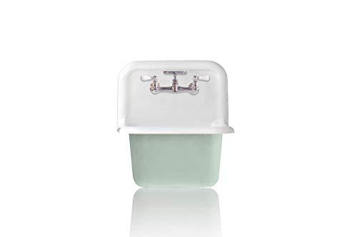 NEW Wall Mount Cast Iron Utility Sink Antique Inspired Deep Basin High Back Porcelain Farm Bath Sink Package Green BlueChrome