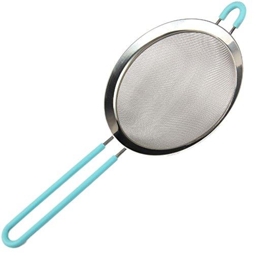Fine Mesh Stainless Steel Strainer for Kitchen Food- Ideal to Strain Pasta Noodles Quinoa Sift Sieve Flour Powdered Sugar Single 8 Blue