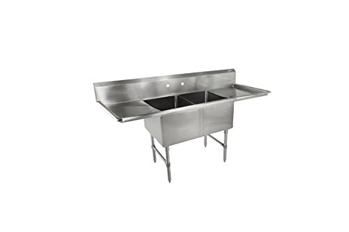 John Boos 16-Gauge Stainless Steel Sinks With Drain Boards - 18Lx24W Bowl - 2 Sinks