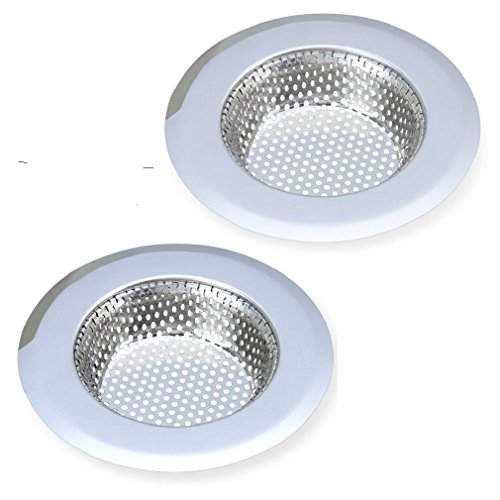 DoKictchons Stainless Sink Large Wide Rim 45 Diameter Stainless Steel Kitchen Sink Strainer Set of 2