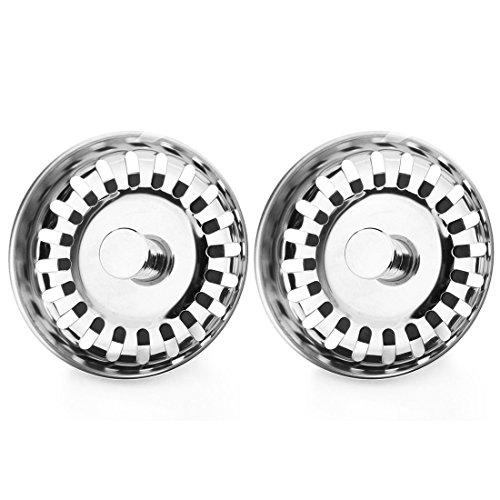 SODIALR 2x Kitchen Waste Stainless Steel Sink Strainer Plug Drain Stopper Filter Basket
