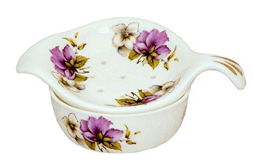 Purple Pansy Tea Strainer and Bowl - Fine English bone china