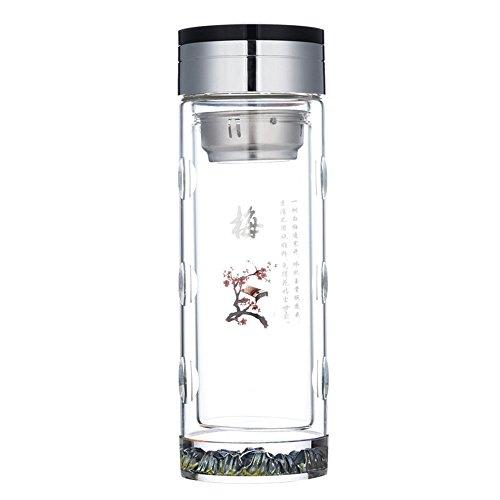 Da Ben Tai-Eco Tea Tumbler Travel Mug Glass Water Bottle – Stainless Steel Filter Infuser - Premium Quality - BPA-Free - Travel - For Loose leaf Tea Teatox Fruit Detox 梅