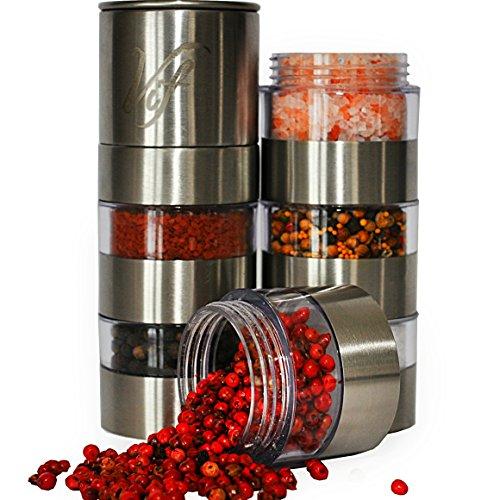 Spice Grinder Stainless Steel- 6 Jar Salt And Pepper Shaker Set - Adjustable Ceramic Grinder For Salt Pepper,