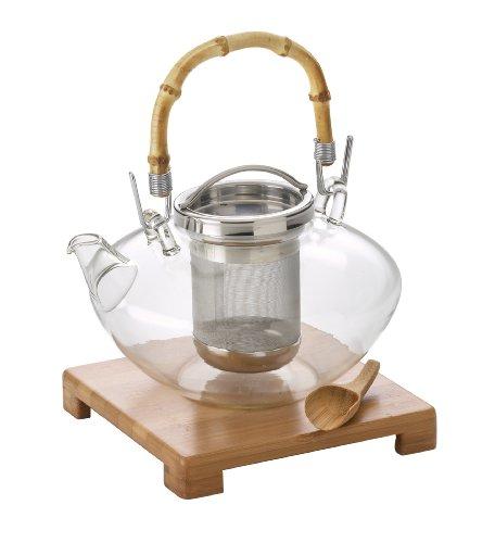 BonJour Tea Handblown Glass Zen Teapot with Stainless Steel Infuser and Bamboo Trivet 42-Ounce