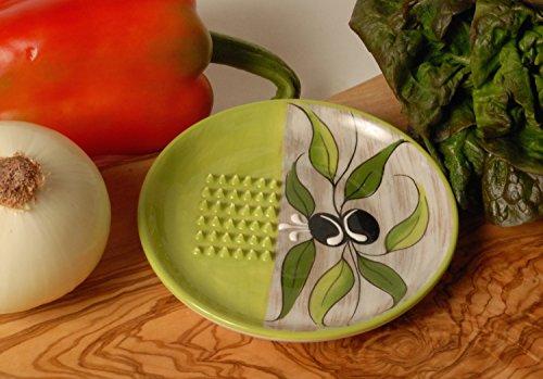 Ceramic Garlic Grater Plate - Green Olive Design