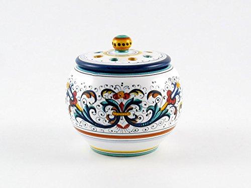 Hand Painted Italian Ceramic Garlic Jar Ricco Deruta Blu - Handmade in Deruta