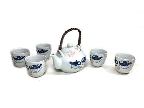 Oriental Style Fish Teapot Ceramic Tea Pot Set Blue White 1 Teapot 5 Cups