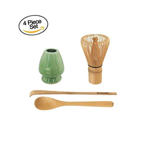 BambooMN Brand - Matcha Green Tea Whisk Set - Whisk  Scoop  Tea Spoon  Soft Light Green Whisk Holder