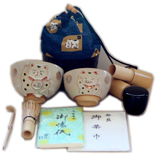 Parent-child beckoning cat Matcha bowl set tea ceremony